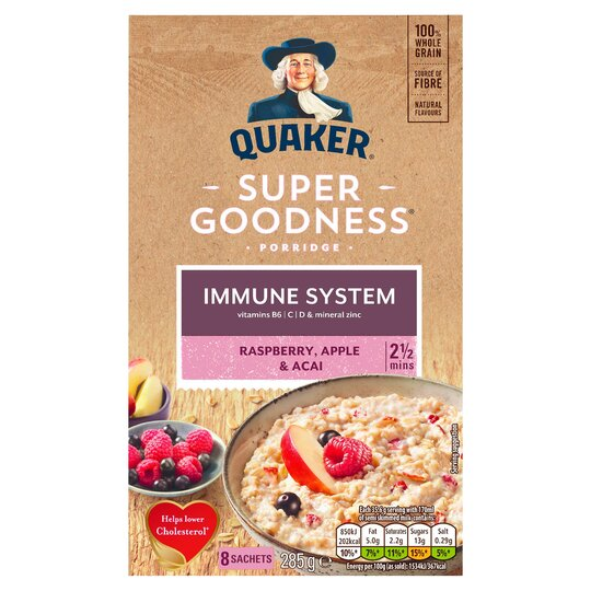Quaker Oat Super Fruit Raspberry, Apple &Acai Porridge 285G