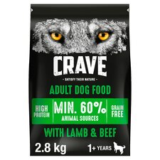 image 1 of Crave High Protein Dry Dog Food Lamb & Beef 2.8Kg