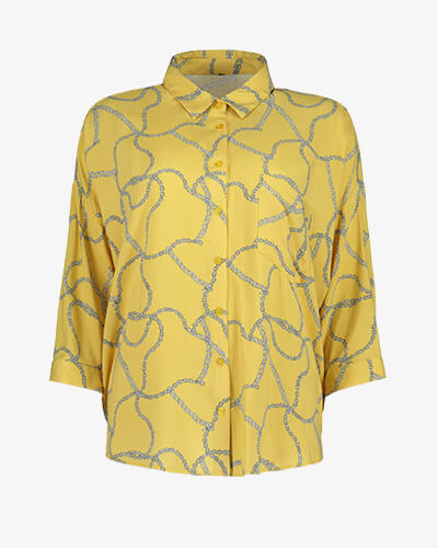 ad4f1b91f2d Yellow oversized chain print shirt