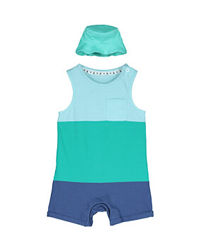 Sleeveless, light blue, turquoise and navy block stripe shorts romper, with turquoise sun hat
