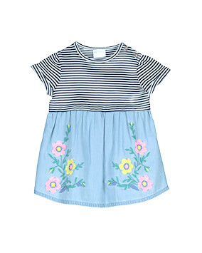 Short sleeve dress with navy and white stripe top half, blue bottom half with pink and yellow floral motif