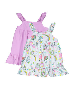 Summer dresses with frilled shoulder straps: one plain pink and one with fruit, ice cream and graphic print