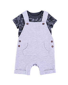 Light grey short dungarees with dark grey animal outline T-shirt