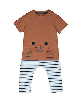 Brown T-shirt with tiger print kangaroo pocket, with black and white stripe leggings