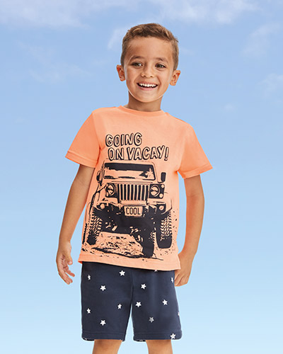 Orange T-shirt with navy Going on vacay! writing and jeep image on front