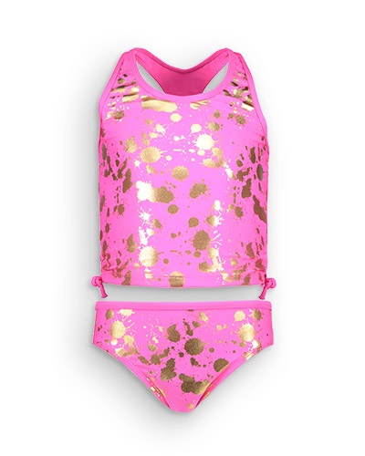 Bright pink tankini with metallic gold splatter design