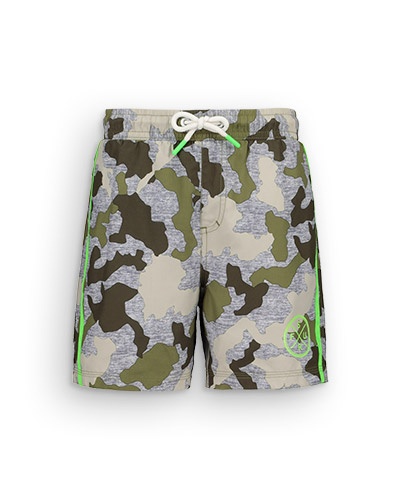 Grey swim shorts with khaki camouflage design