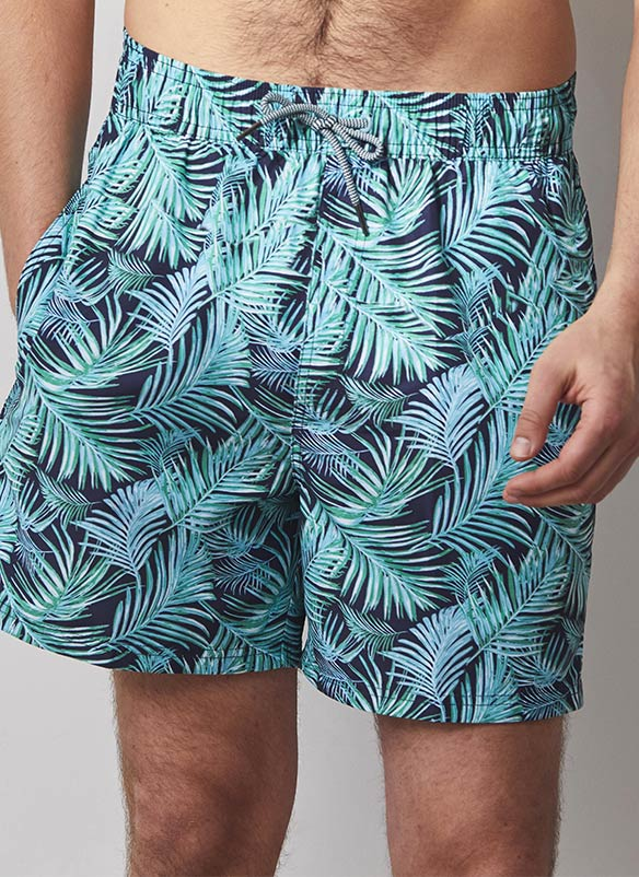 Turquoise and navy leaf design shorts