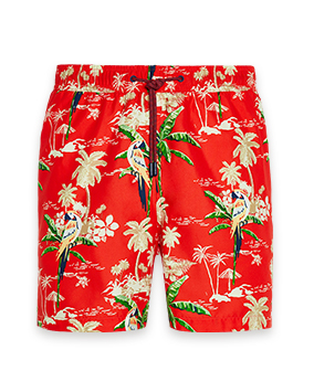 Red swim shorts with parrot and tropical island print