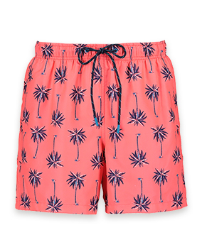 Coral pink swim shorts with blue and purple palm tree print