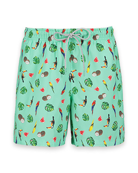 Mint green swim shorts with palm leaf,toucan, parrot,coconut and watermelon design
