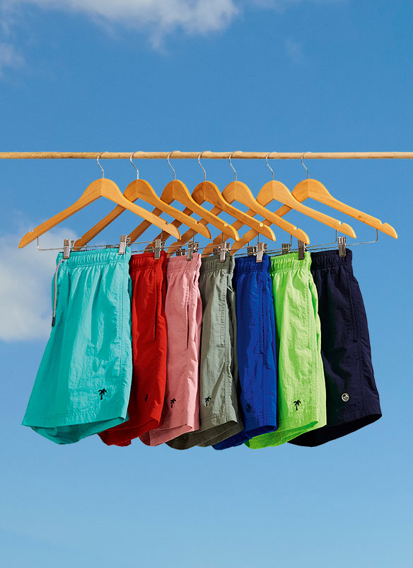 Choice of swim shorts in turquoise, red, pink, grey, cobalt blue, lime green, and navy