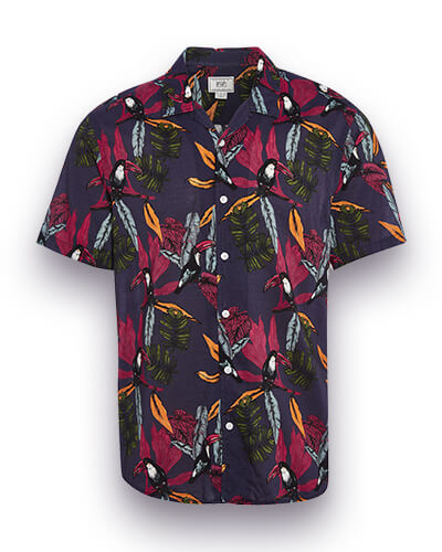 Short sleeved, navy shirt with toucans and red, orange, blue and green leaf design