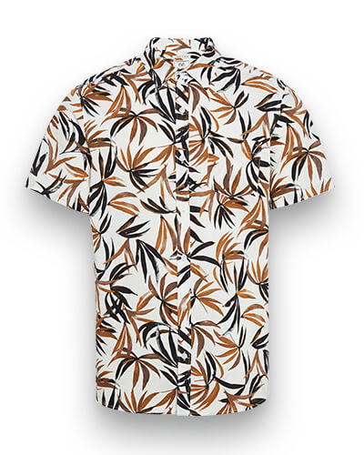 Short sleeved, white shirt with black and brown palm leaf print