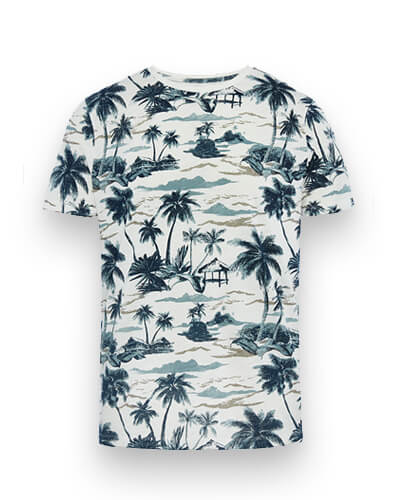 White T-shirt with navy tropical island print