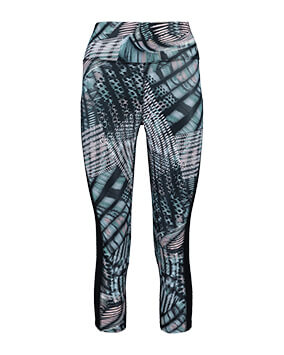 Black leggings with graphic print on front of legs