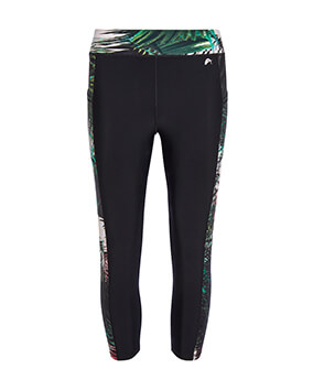 Black leggings with abstract palm print at the waist and sides of legs