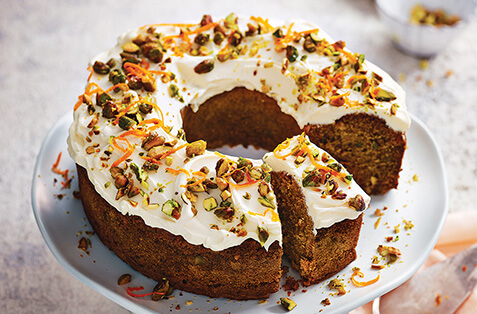 Carrot, pistachio & maple cake