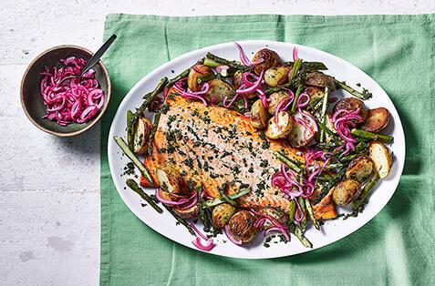 Salmon with spring veg