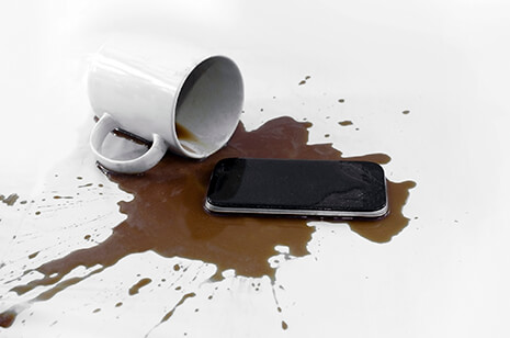 coffee spilt on phone