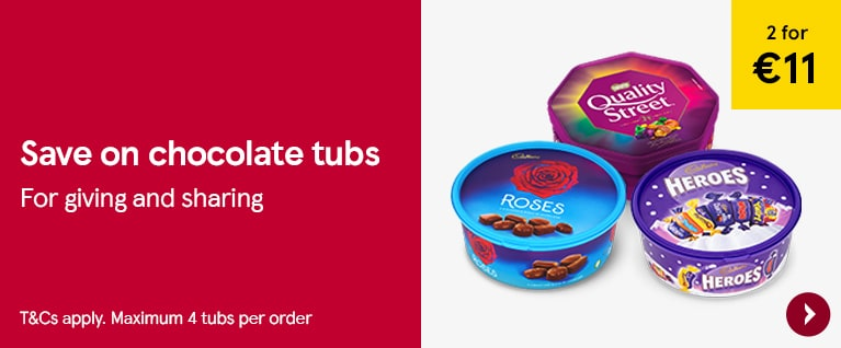 2 for 11 euros on selected chocolate tubs