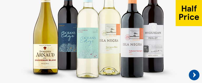 Half price on selected wines