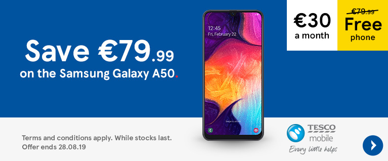 Get the Samsung Galaxy A50 free with a 30 euros a month contract