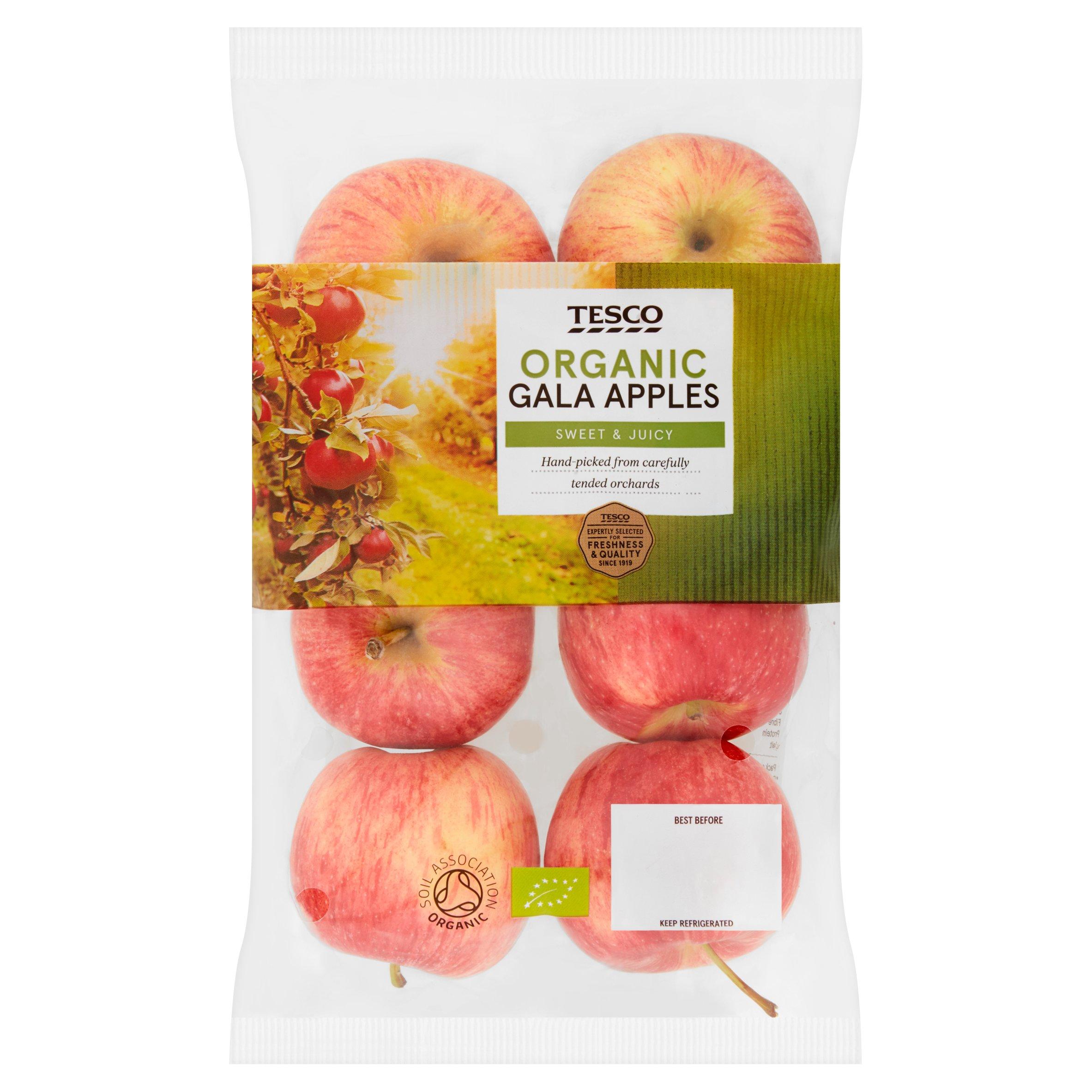Tesco Organic Gala Apples 630G