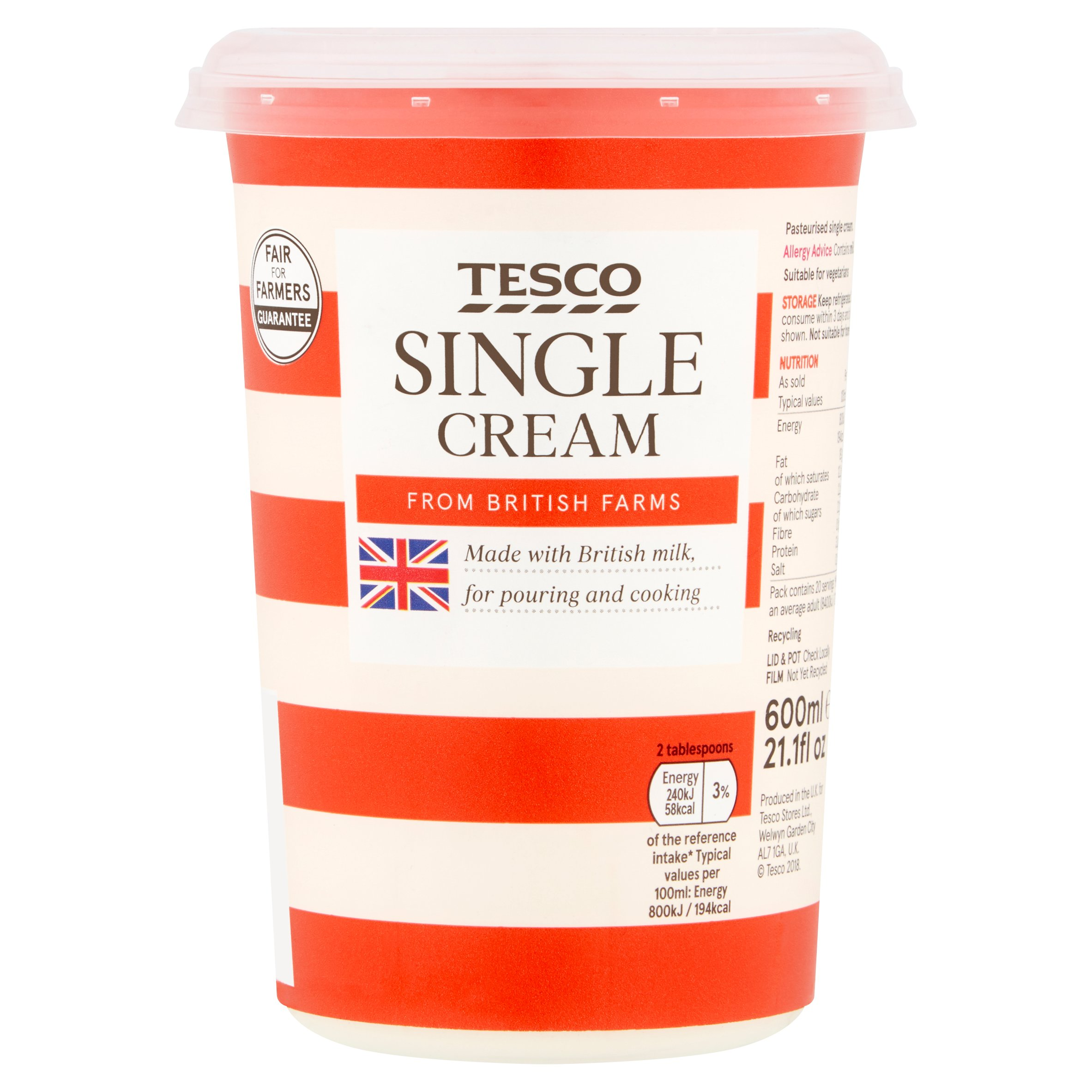 Tesco Fresh Single Cream 600Ml