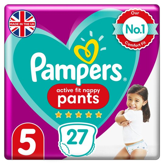 image 1 of Pampers Active Fit 27 Nappy Pants Size 5 Essential Pack