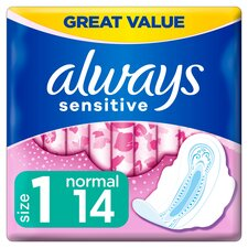 image 1 of Always Sensitive Normal Size 1 Sanitary Towels With Wings 14 Pack