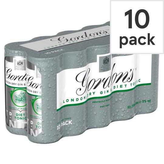 Gordon's Gin & Slimline Tonic 250Ml 10 Pack