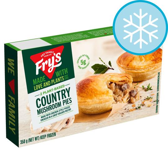 Fry's Meat Free 2 Country Mushroom Pies 350G