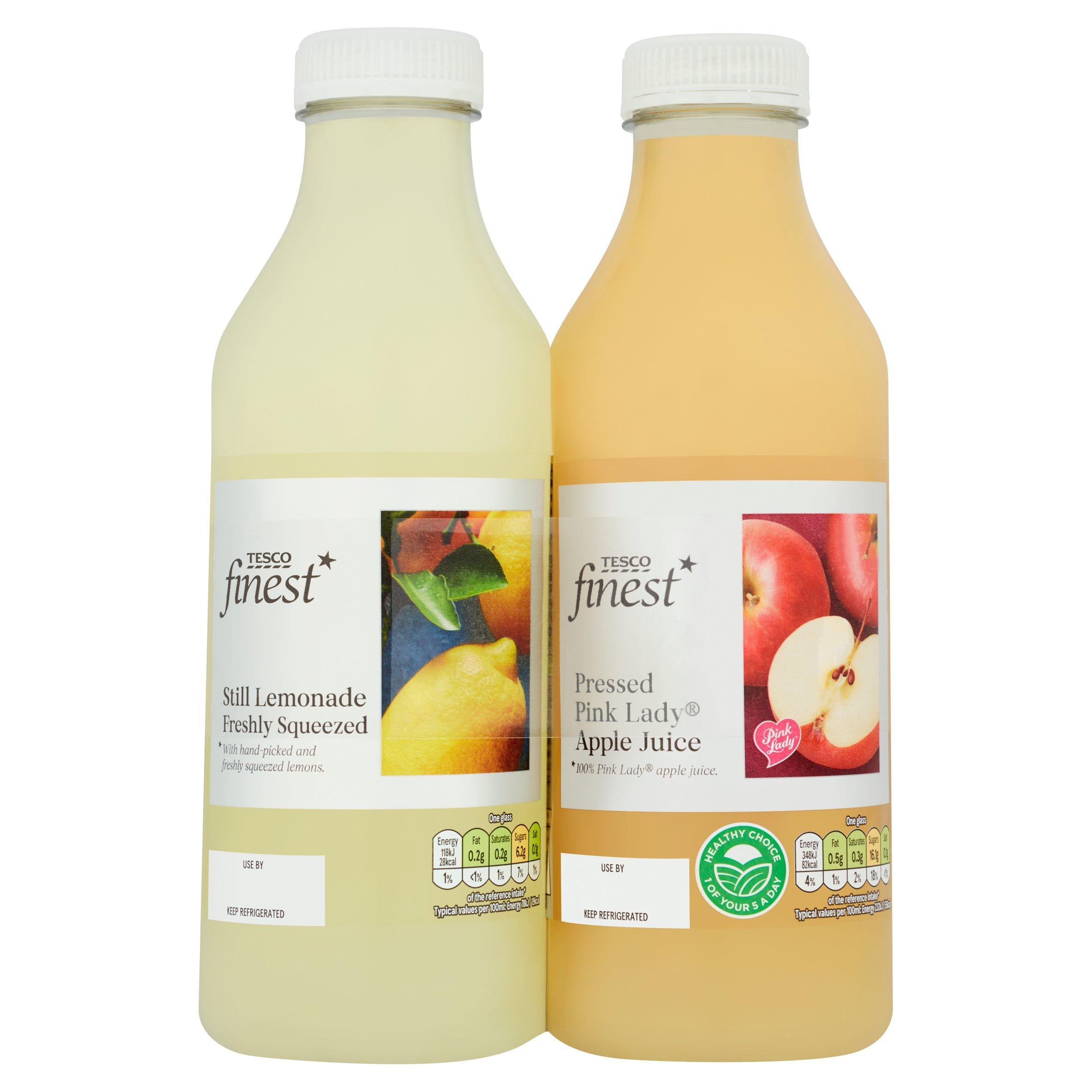 Tesco Finest Pnk/Ldy 2 Pack Apple Juice & Lemonade 750Ml