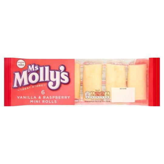 Ms Molly's 6 Vanilla & Raspberry Mini Rolls
