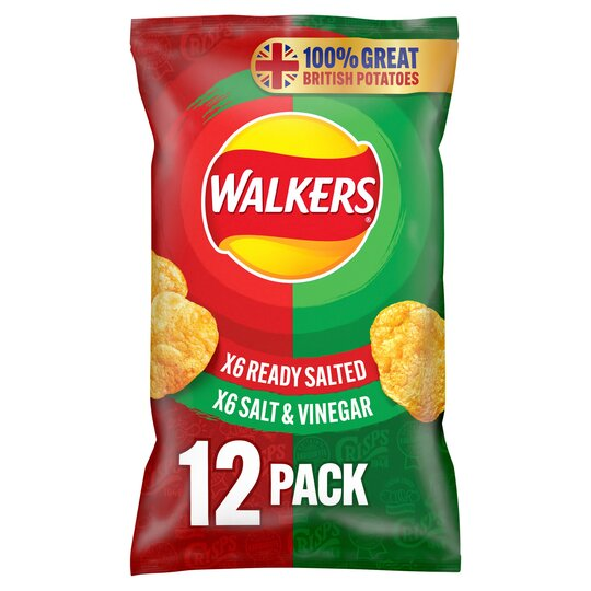 image 1 of Walkers Variety Ready Salted &Vngr Crisps 12X25g