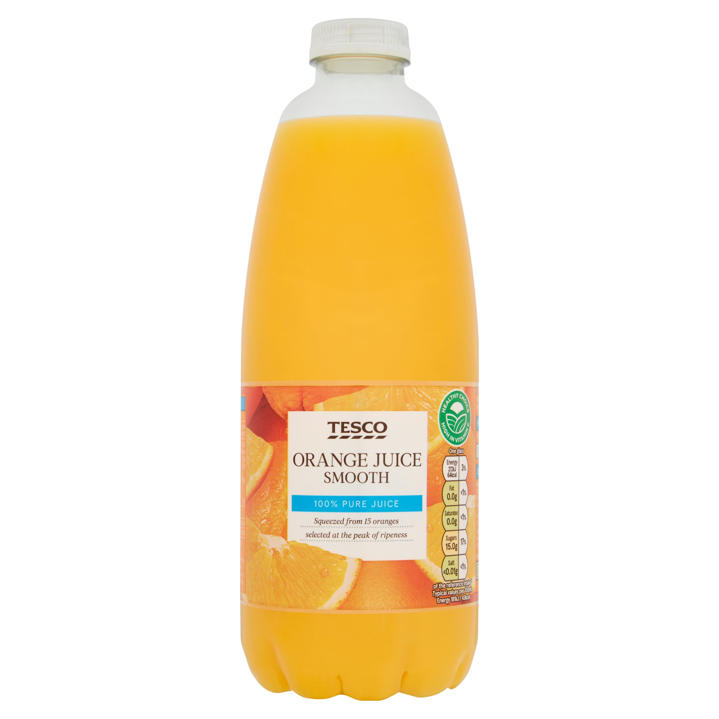 Tesco 100% Pure Squeezed Orange Juice Smooth Not From Concentrate 1L