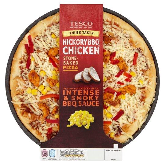 Tesco Thin And Tasty Hickory Bbq Chicken Stonebake Pizza