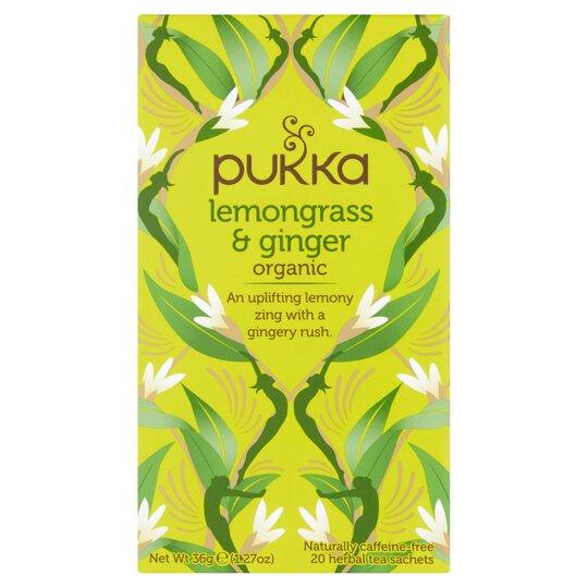 Pukka Organic 20 Lemon Grass & Ginger Tea Bags 36G