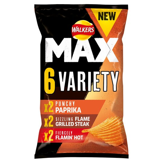 Walkers Max Variety Pack Ridged Potato Crisps 6 X 27G