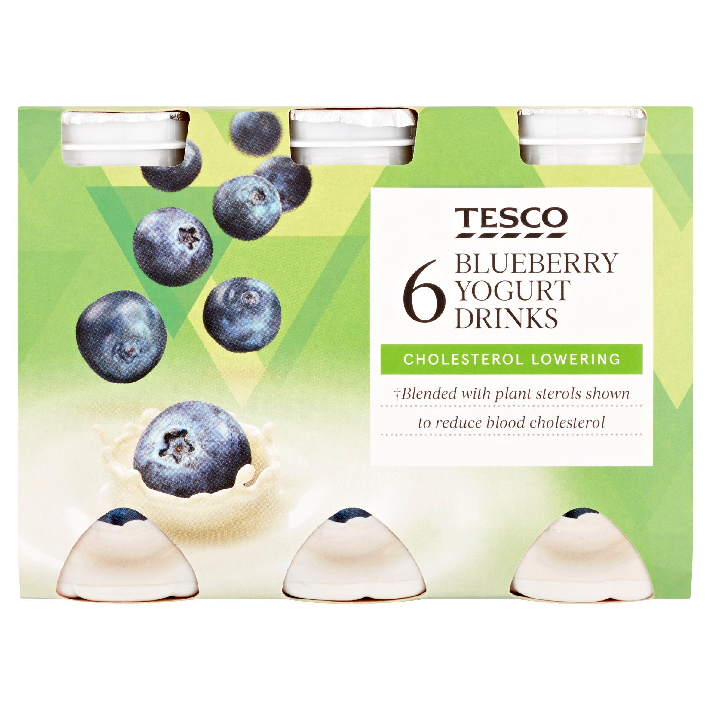 Tesco Chol Red Blueberry Yogurt Drink 6X100g
