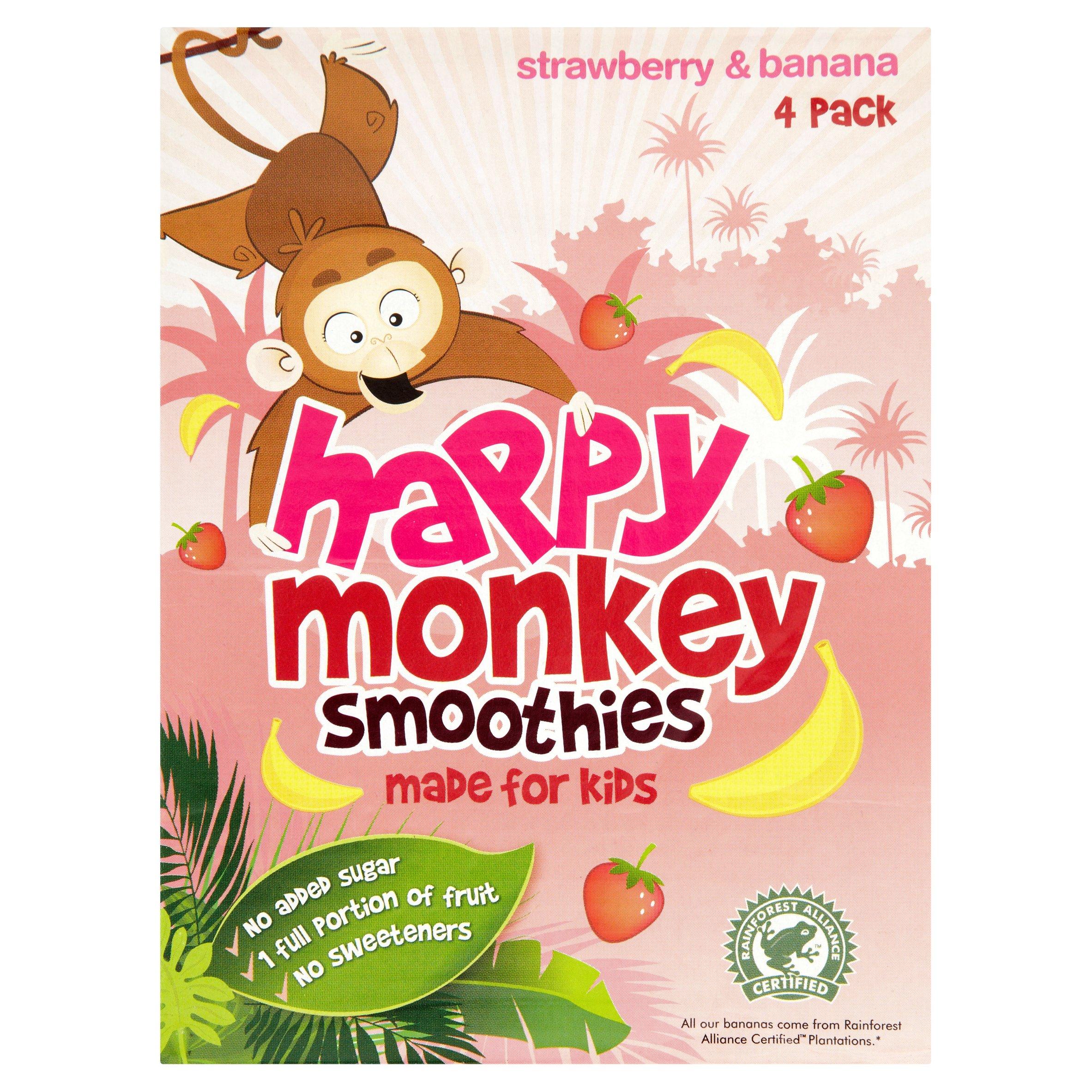 Happy Monkey Strawberries & Bananas 4 Pack