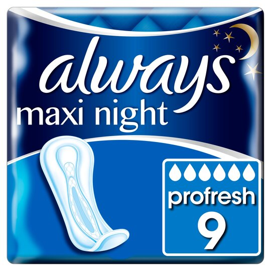 image 1 of Always Maxi Size 3 Night Sanitary Towels 9 Pack
