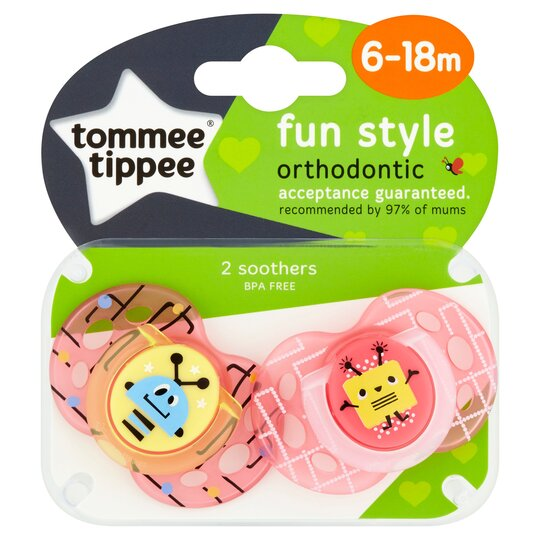 Tommee Tippee Closer To Nature 6-18Mth Fun Soother X2