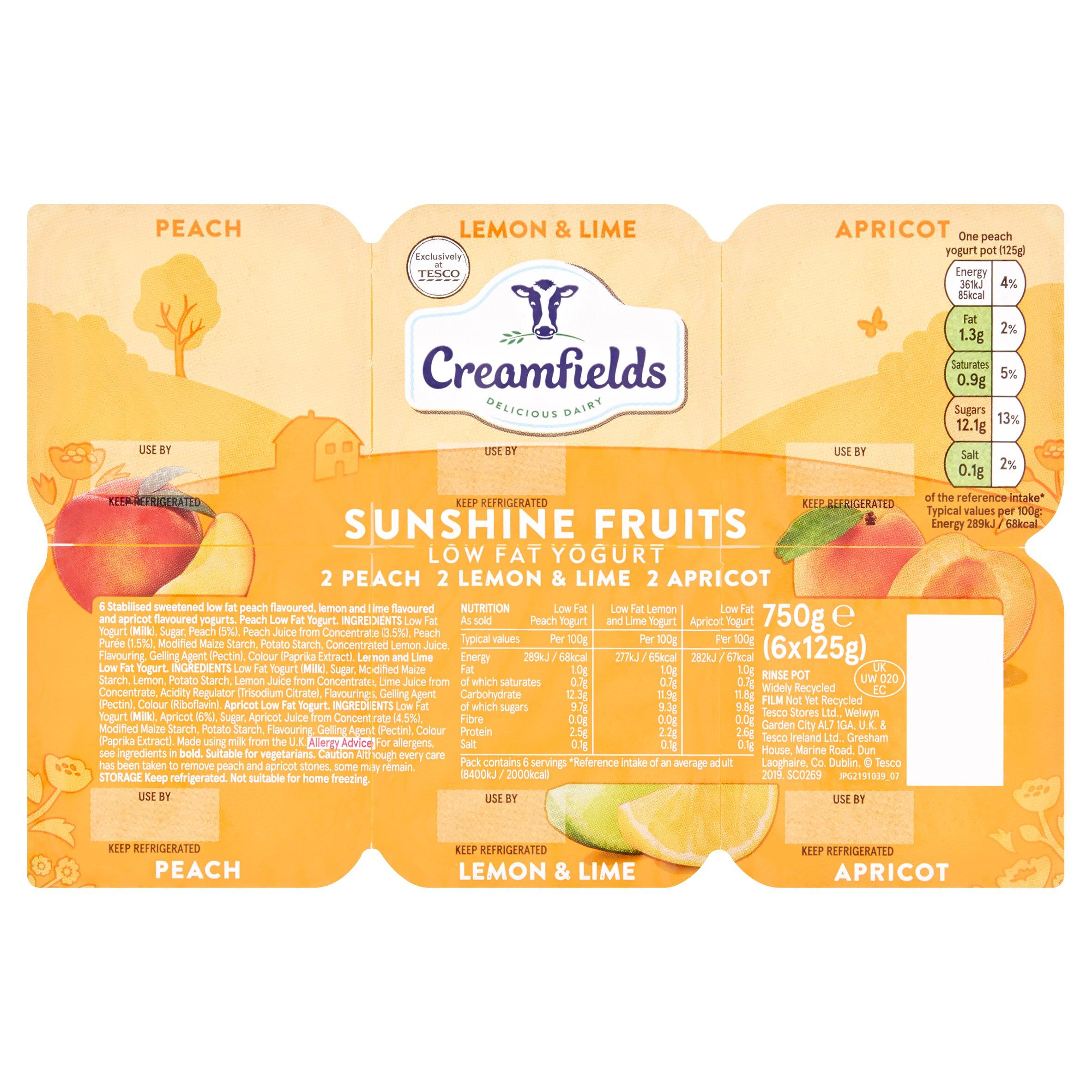 Creamfields Low Fat Sunshine Fruit Yogurt 6X125g
