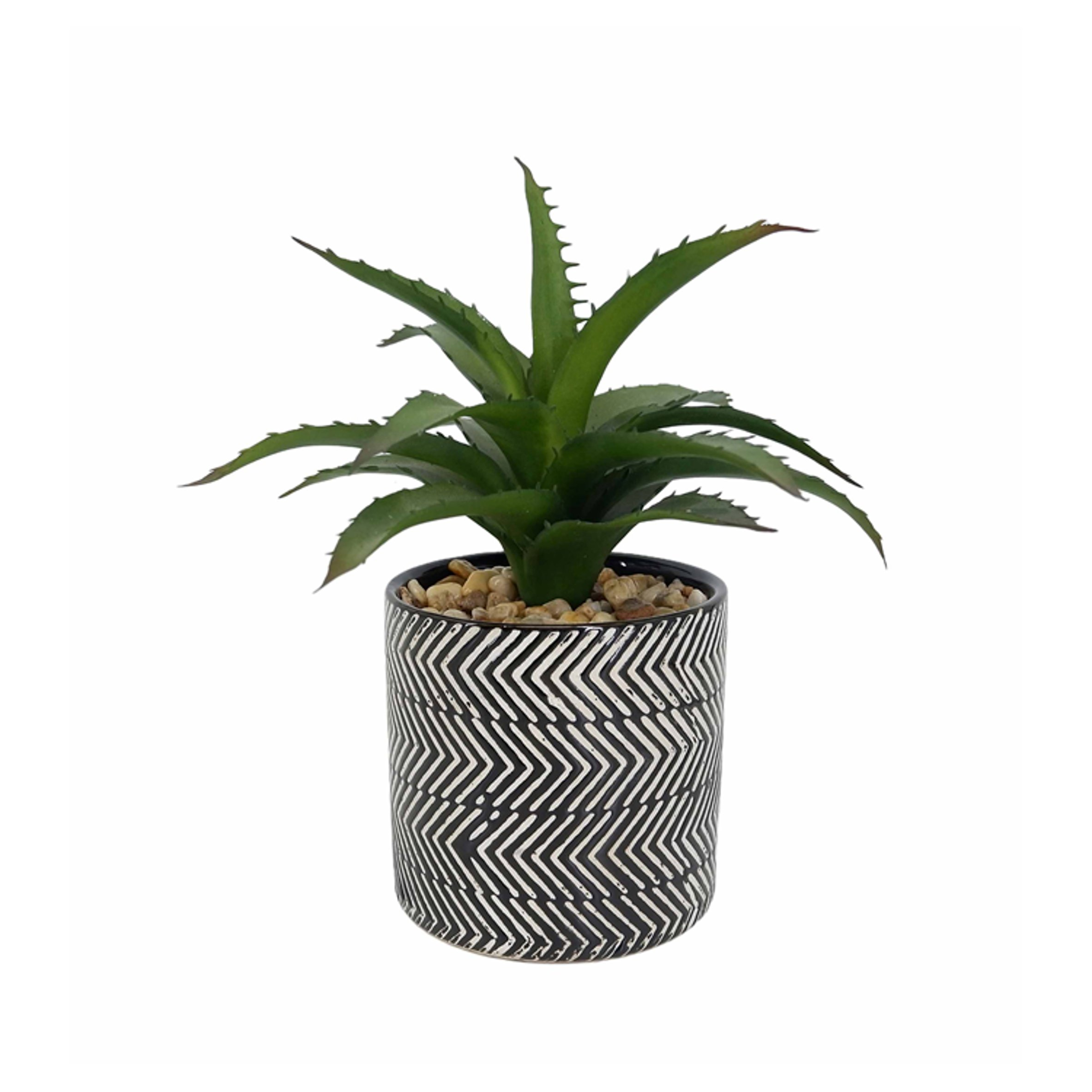 Artifloral Aloe In Black & White Pot