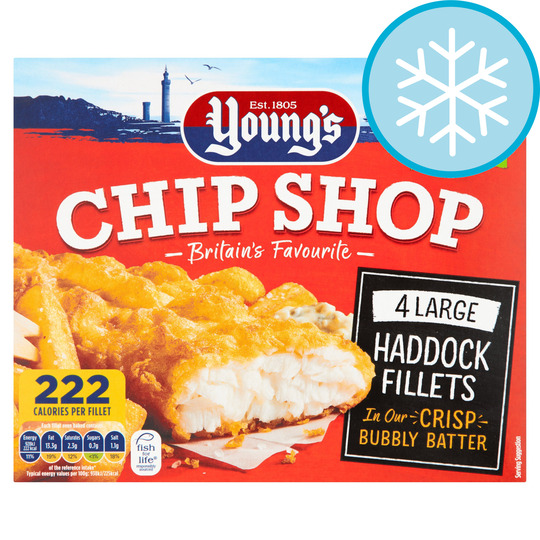 Youngs Chip Shop 4 Haddock Fillets 440G