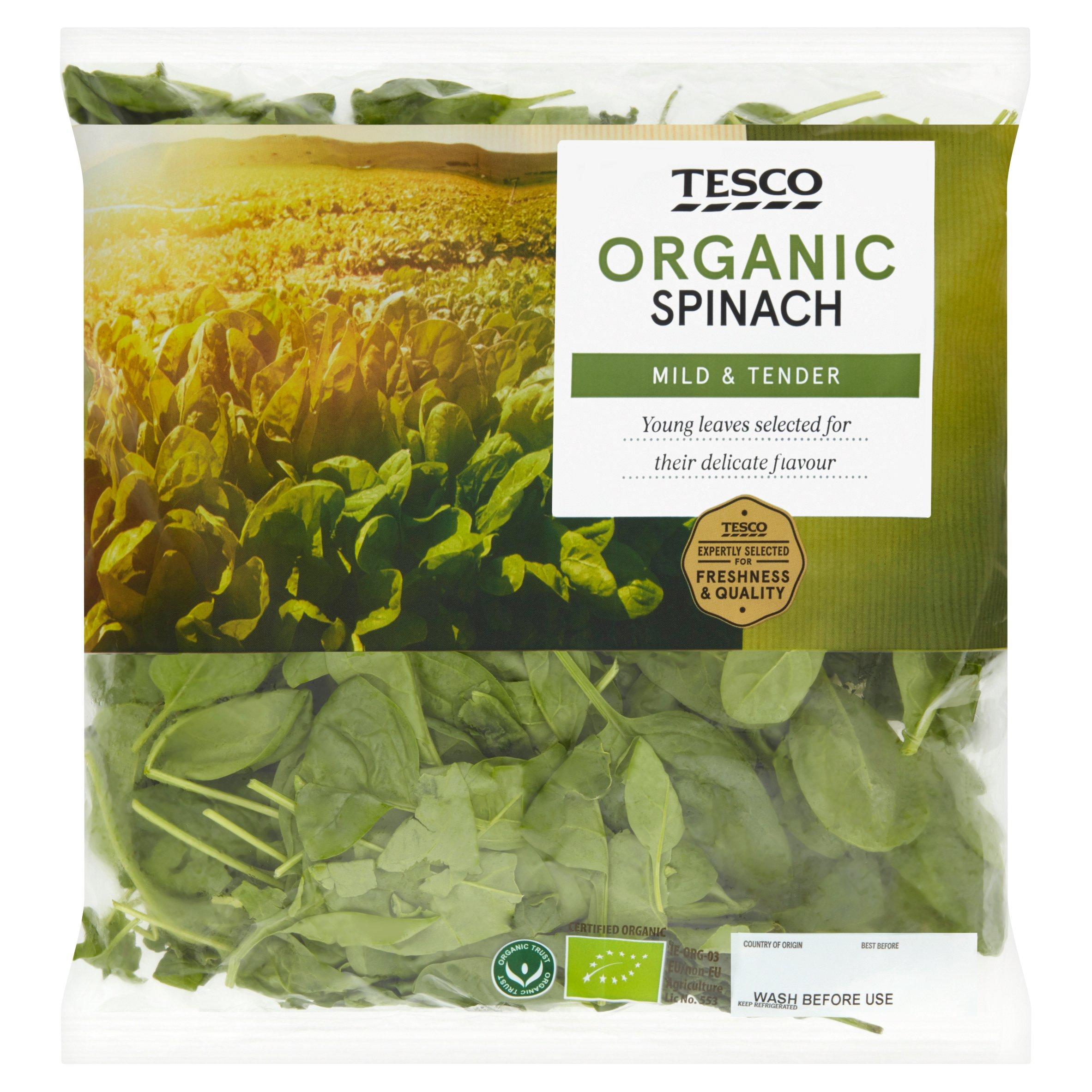 Tesco Organic Spinach 200G
