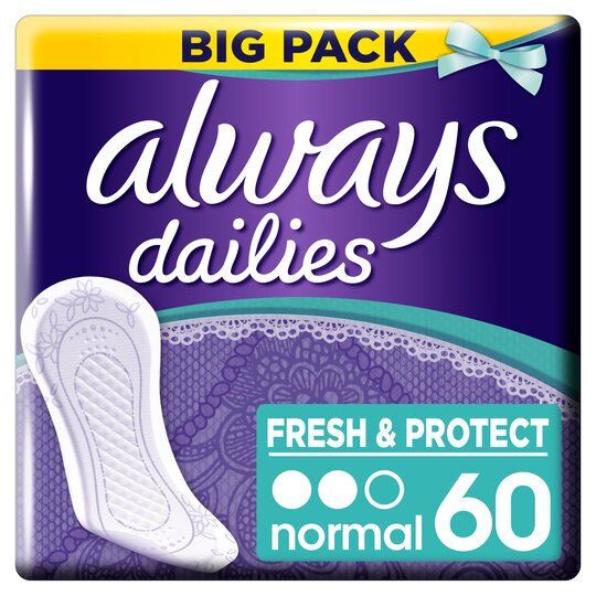 image 1 of Always Dailies Fresh & Protect Normal Panty Liners 60