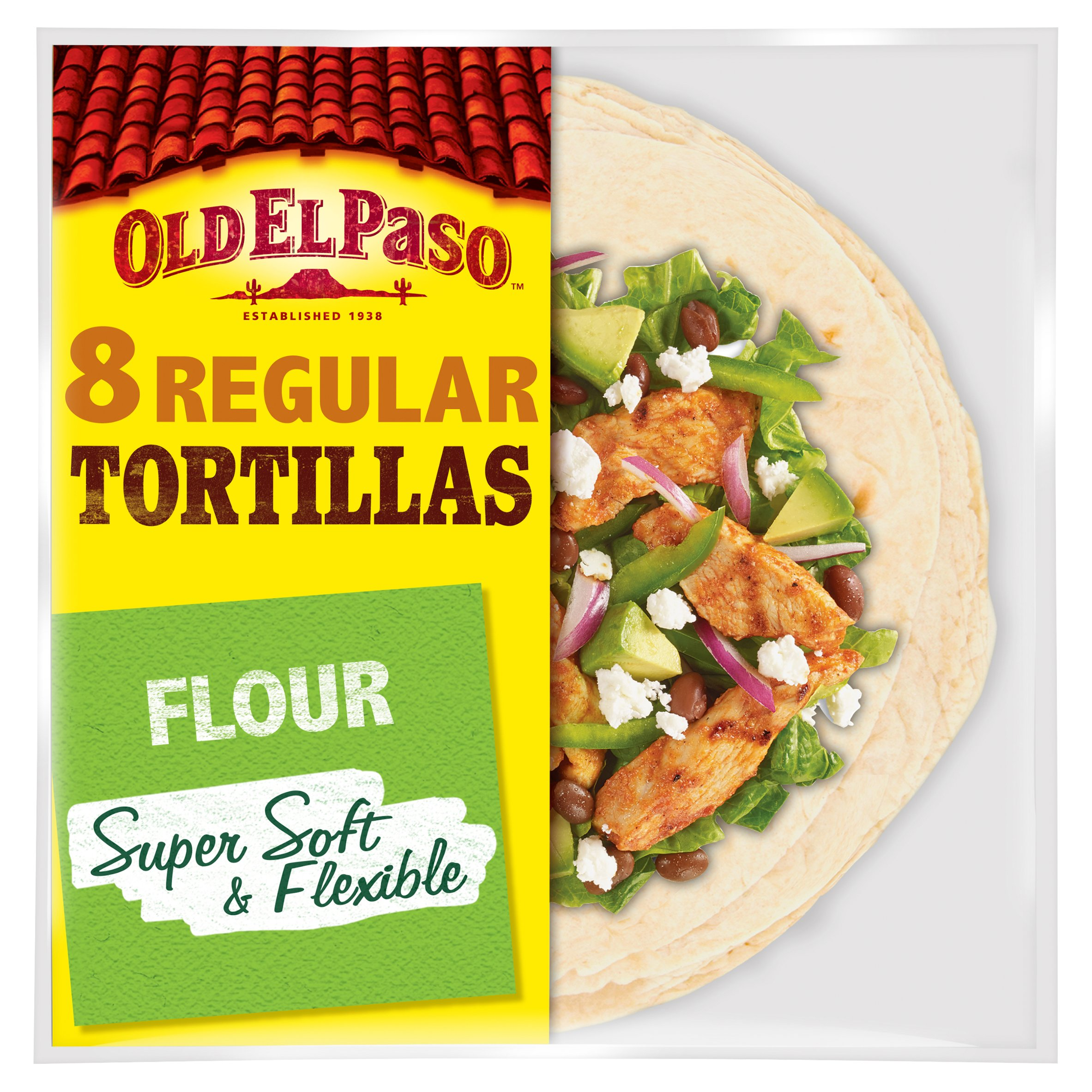 Old El Paso Regular Super Soft Flour Tortillas 8Pk 326G